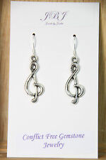 925 sterling silver earrings charm Treble Clef pewter 1 pair Music Note Gift
