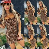 Sexy Women's Summer Leopard Bodycon Mini Dress Ladies Evening Party Gown Dresses