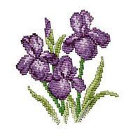 Stickpackung Kreuzstich Bild aus Baumwolle Kreuzstich Stickset mit Schwertlilien