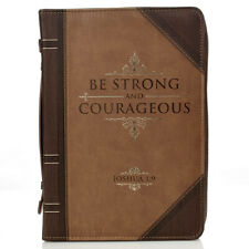 """Bible Cover Brand NEW Be Strong & Courageous XL Brown 11 1/8"""" x 8"""" x 2 1/8"""""""