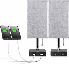 Set of 2 Grey Modern Fabric Bedside Table Lamp Desk Lights w/ USB Charging Ports