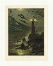 H. Eschke. Leuchtturm auf der Klippe Nacht Vollmond coloriert Holzstich E 8925