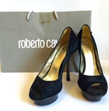 Just Cavalli Women's Shoes Suede Pump Open Toe Heels Black EU 39 US 9 Authentic