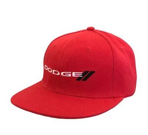 New Dodge Baseball Flat Brim Cap Dodge Logo and Rhombus Red White and Black New