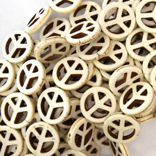 "20mm white turquoise peace sign coin beads 15.5"" strand"