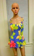 Cole of California Sz 8 1 Piece Swimsuit Purple Multi Color Floral Skirt Modest
