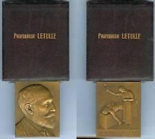 Médaille de table - Médecine professeur LETULLE sculpteur E. BOURGOIN d=70x56 mm