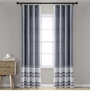 Lush Navy Nantucket Yarn Dyed Cotton Tassel Fringe Window Curtains Pair  84x 40