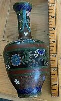 "Japanese Cloisonne Vase. 7x3"" - beautifully done with foil. Antique or vintage."