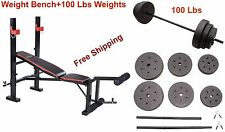 Home Gym 100 Lbs Weight Bench Press Barbell Arms Biceps Workout Abs Machine Set