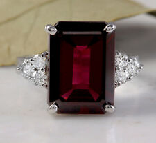 9.25 Carats Natural Red Garnet & Diamond 14K Solid White Gold Ring