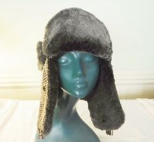 WARM WINTER HAT FAUX FUR LINED BROWN TWEED OUTER WITH LONG EAR PIECES M/L COMFY