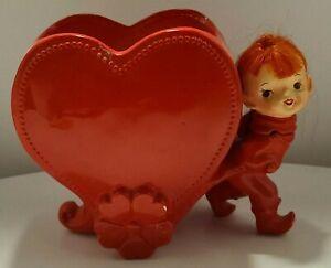 Vintage PIXIE ELF Relpo Valentine RED HEART Planter #5822