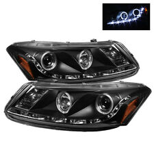 Fit Honda 08-12 Accord 4DR Black Dual Halo LED Projector Headlights EX LX SE