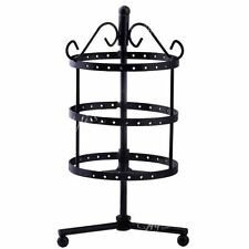72 Holes Metal Rotating Earrings Jewelry Organizer Display Stand Holder Black