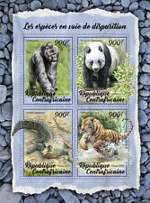 Central Africa 2018 Endangered Species Panda Gorilla Crocodile Tiger S/S Ca18013
