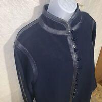 Vintage Lilli Ann Blue Coat With Leather Trim Paris Label Small Medium 6/8