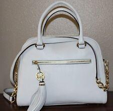 New Michael KORS Knox MK Tassel Large SATCHEL Vanilla LEATHER Handbag 38S4XXTS3L