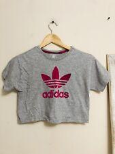 Adidas Originals Women's Loose Crop Top Tee Shirt T-Shirt Pink Medium