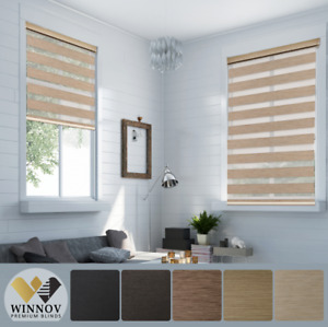 95% BLACKOUT Window Blinds Dual Layer Roller Shade Custom Order MADE TO MEASURE