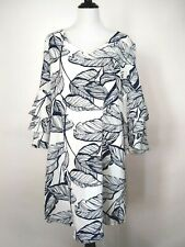 Linen Lux Womens White Blue Leaves Ruffle Sleeves Dress Size 6