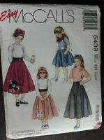McCall's Sewing Pattern 5439 Children & Girls Poodle Skirt, Scarf Size 7-8-10 UC