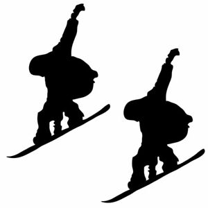 Qty 2 Snowboarder7 Stickers Car Window Wall Decals Pack G Any Colour 10cm - 50cm