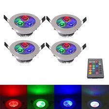 4Pcs 5W RGB 16 Color LED Recessed Ceiling Light Spotlight Downlight Lamp+Control