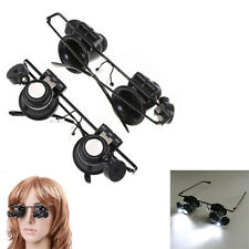 Dual 20X Magnifier Eye Jeweler Watch Repair Tools w/ LED Light Glasses Loupe NEW