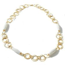 """LONG Technibond Faceted White Agate Necklace 14K Yellow Gold Clad Silver 32"""" 925"""