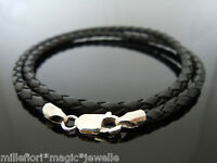 "3mm Black Braided Leather Sterling Silver Necklace Or Wristband 16"" 18"" 20"" 22"""