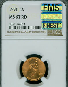 1981 LINCOLN CENT NGC MS67 RED PQ FMS MAC FINEST GRADE POP-12 MAC SPOTLESS  .
