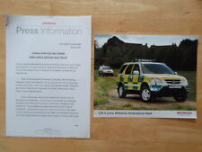 HONDA CR-V AMBULANCE orig 2003 UK Mkt Press Release + Photo - Brochure
