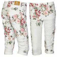 Lexxury Boyfriend Capri 3/4 Hose Jeans Bermuda Damenjeans Chino Blau Blumen