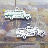 10pcs School Bus Car Charms Tibetan Silver Bead DIY Bracelet Pendant 13*23mm