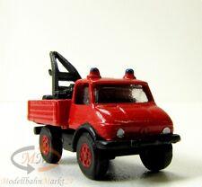 IMU 12074 Mercedes Feuerwehr-Unimog Pritsche mit Kran Metall Spur N 1:160 - OVP