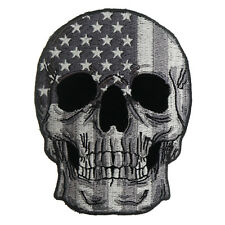 Embroidered Grey USA Flag Skull Sew or Iron on Patch Biker Patch