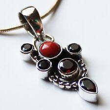 925 Sterling Silver Red Coral & Garnet Semi-Precious Natural Stone Pendant
