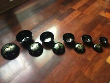 VINTAGE CHINESE HAND PAINTED BLACK LAQUER WARE 5 ROUND NESTING LIDDED BOXES SET