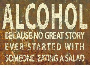 Funny Alcohol Joke, Retro Vintage Style Metal Sign Plaque Man Cave Shed Bar Pub