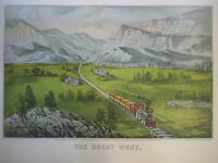 Vintage Currier & Ives America Color Print, The Great West