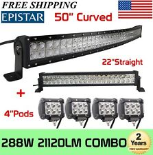 "Curved 50Inch LED Light Bar + 22in +4"" CREE PODS OFFROAD SUV 4WD ATV VS 52/42/20"