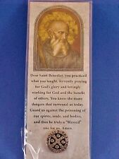 Saint ST BENEDICT Protection Medal LAPEL PIN TIE TAC Silver Tone