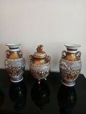 More details for japanese kutani porcelain garniture 2 vases with koro and cover 31cm sale