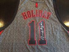 SIGNED JRUE HOLIDAY 76ERS SWINGMAN REVOLUTION JERSEY! PELICANS NBA AUTO COA!