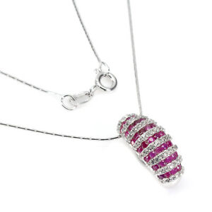 Ruby White Topaz Round Diamond Cut White Gold Plate 925 Sterling Silver Necklace