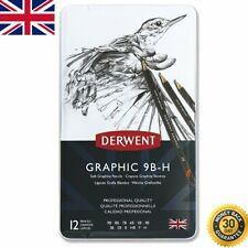 Graphic Soft Graphite Drawing Pencils Professional Quality Derwent Black 12 Set