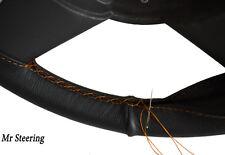 FITS 93-99 SEAT IBIZA MK2 REAL BLACK LEATHER STEERING WHEEL COVER ORANGE STITCH