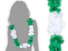 Collier Hawaïen vert blanc Hawaï hawaii Hula fleur pétale fête beach party HK-37