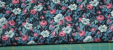 100 % Cotton fabric  ~ Teal with black, pink, light teal & white flowers ~ BTY